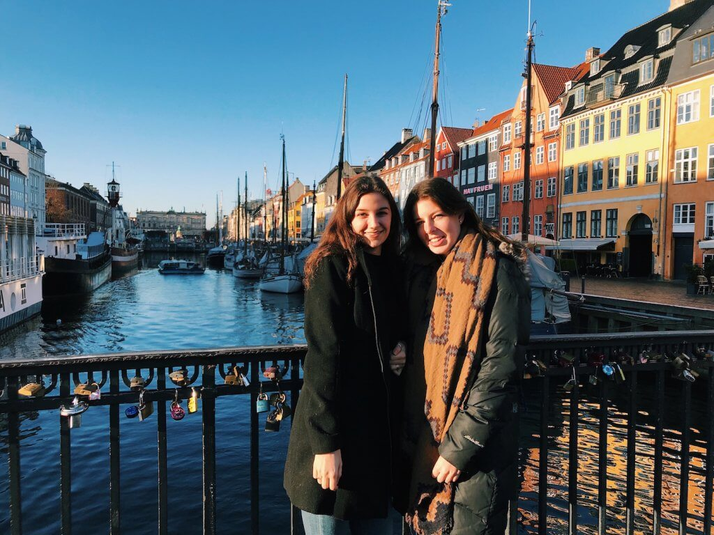 Rachelle with a friend in Denmark
