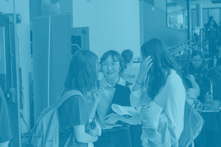 Students connecting at a career event