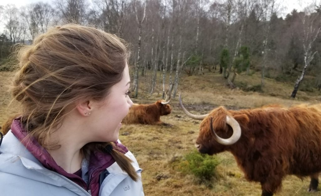 Sarah with animals in a Scottish landscape
