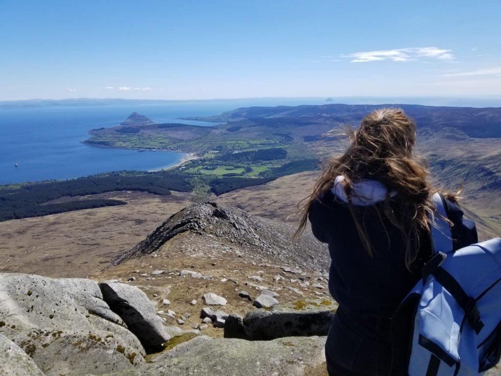Sarah in a mountainous area