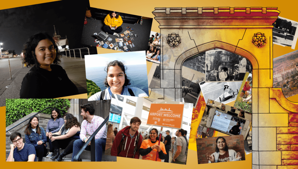 Manveetha's student journey shown through a collage of pictures