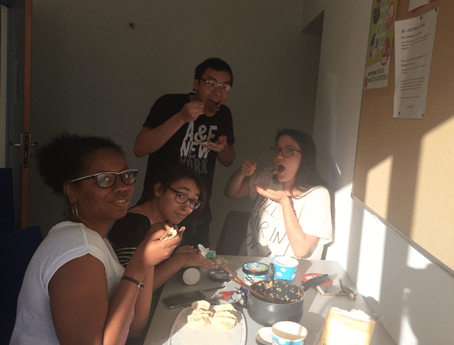 Cindy with friends eating
