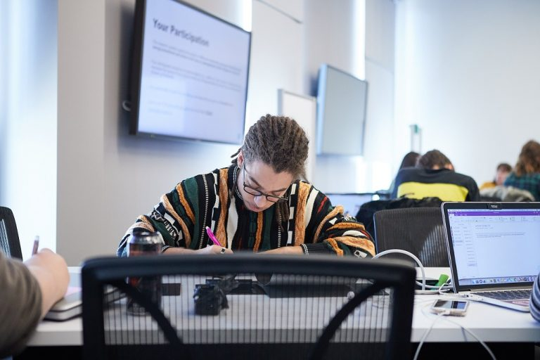 Student studying in an active learning room