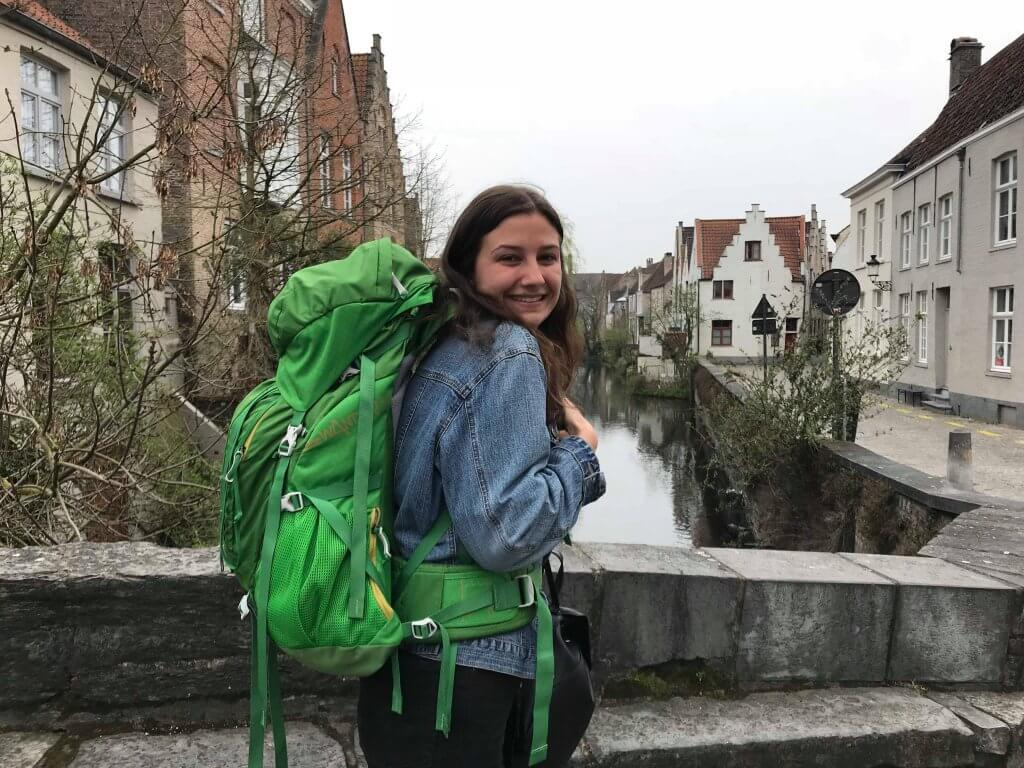 Rachelle with her backpack