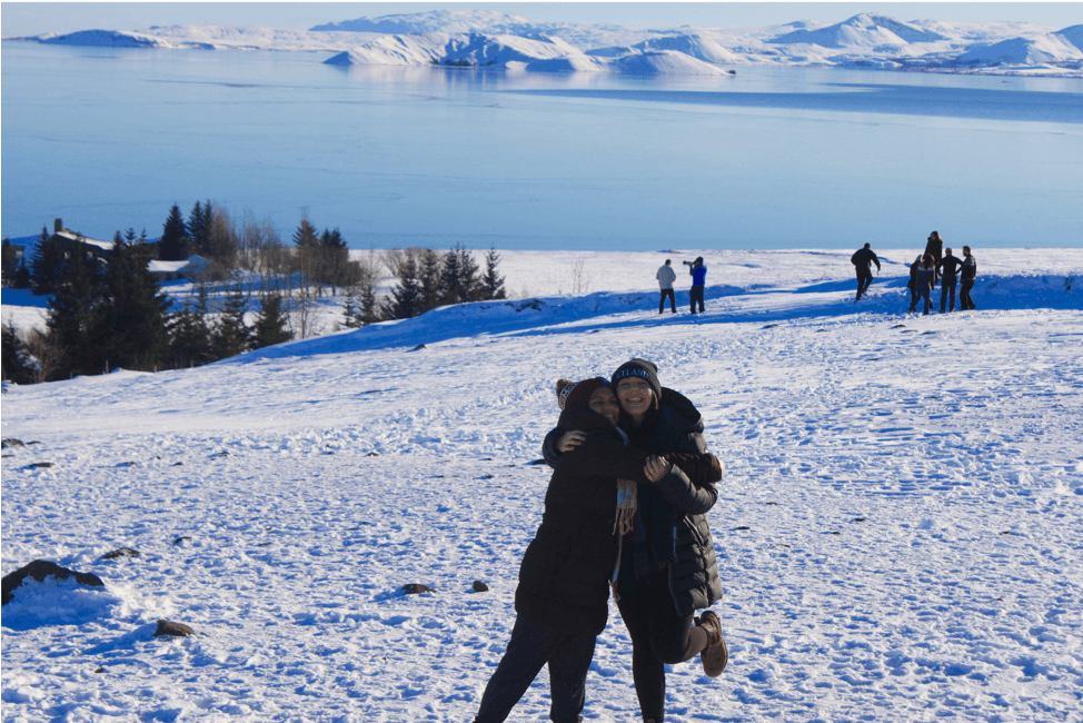 Stephanie and a friend in a snowy landscape