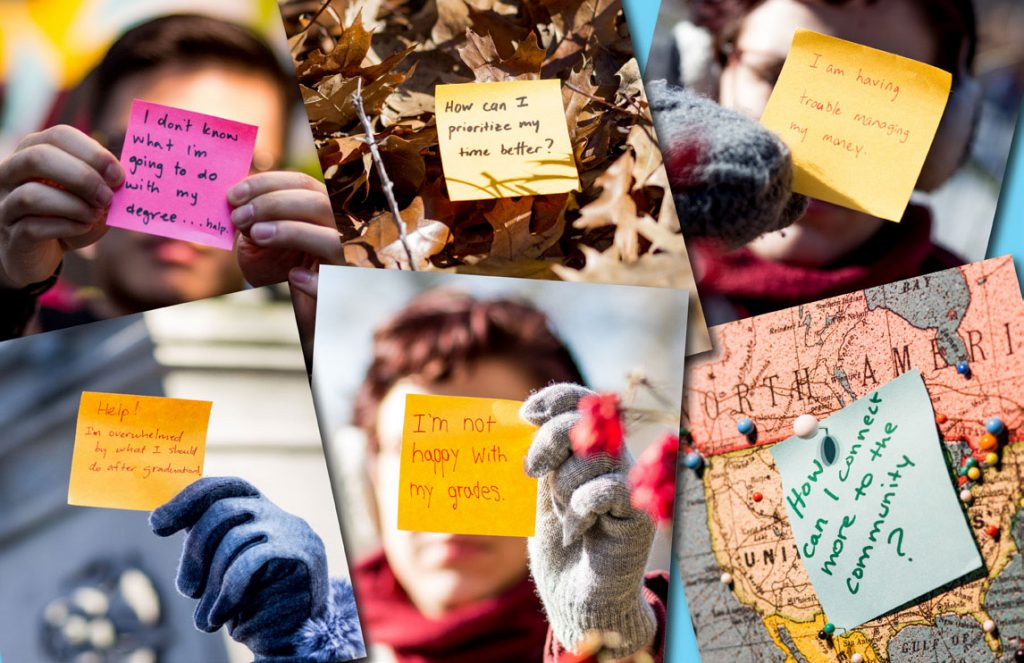 Images of students holding sticky notes of things that scare them