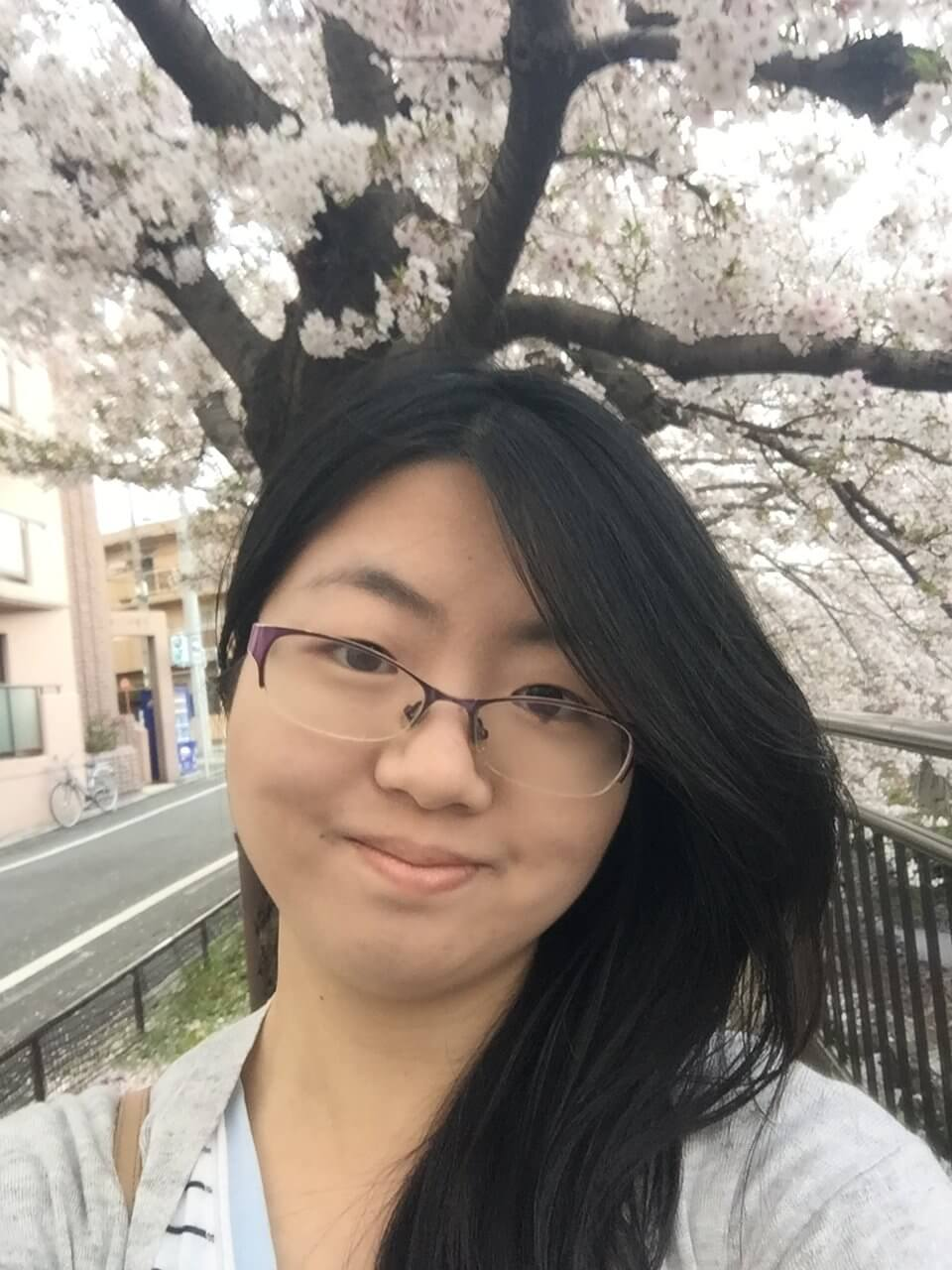 Shirley with cherry blossoms