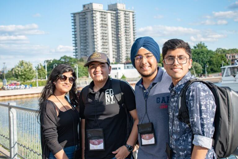 Four students at the hamilton waterfront