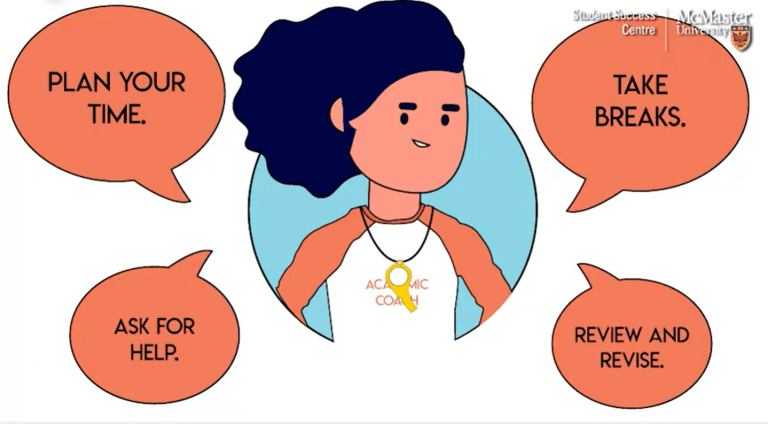 Illustration of academic coach, speech bubbles with tips: plan your time, ask for help, take breaks, review and revise