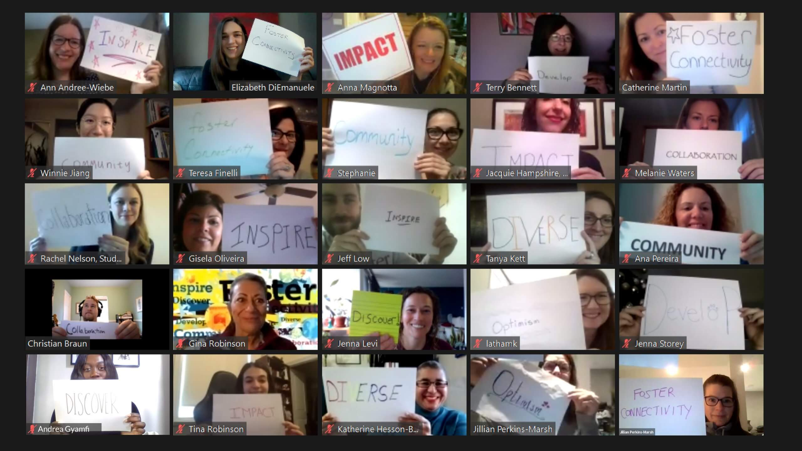 SSC team on Zoom holding signs (inspire, foster connectivity, impact, develop, impact, collaboration, community, diverse, optimism, discover)