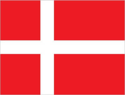 Flag of Denmark (red with a white cross that extends to the edges of the flag; the vertical part of the cross is shifted to the hoist side)