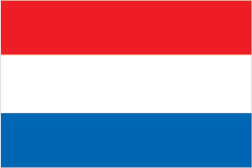 Flag of Netherlands (three equal horizontal bands of red (bright vermilion; top), white, and blue (cobalt))