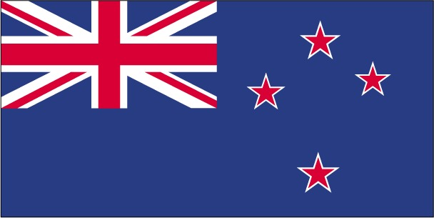 Flag of New Zealand (blue with the flag of the UK in the upper hoist-side quadrant with four red five-pointed stars edged in white centered in the outer half of the flag)