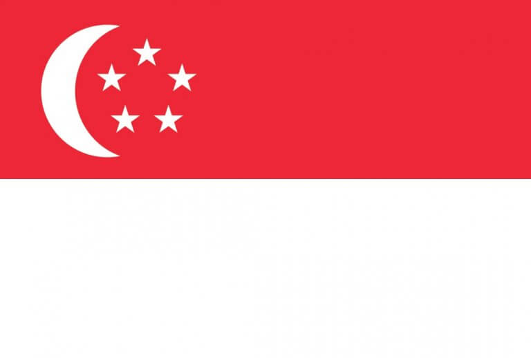 Flag of Singapore (two equal horizontal bands of red (top) and white; near the hoist side of the red band, there is a vertical, white crescent (closed portion is toward the hoist side) partially enclosing five white five-pointed stars arranged in a circle)