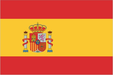 Flag of Spain (three horizontal bands of red (top), yellow (double width), and red with the national coat of arms on the hoist side of the yellow band)