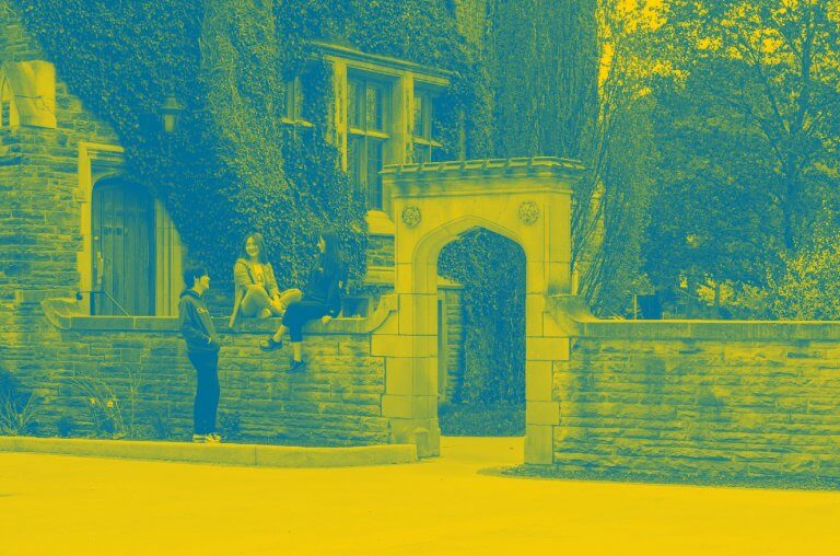 McMaster arch with students. Yellow and green duo-tone.