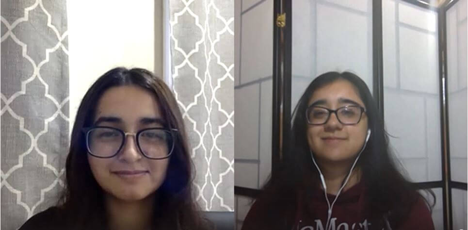 Students in a Teams meeting: Sharon and Maham.