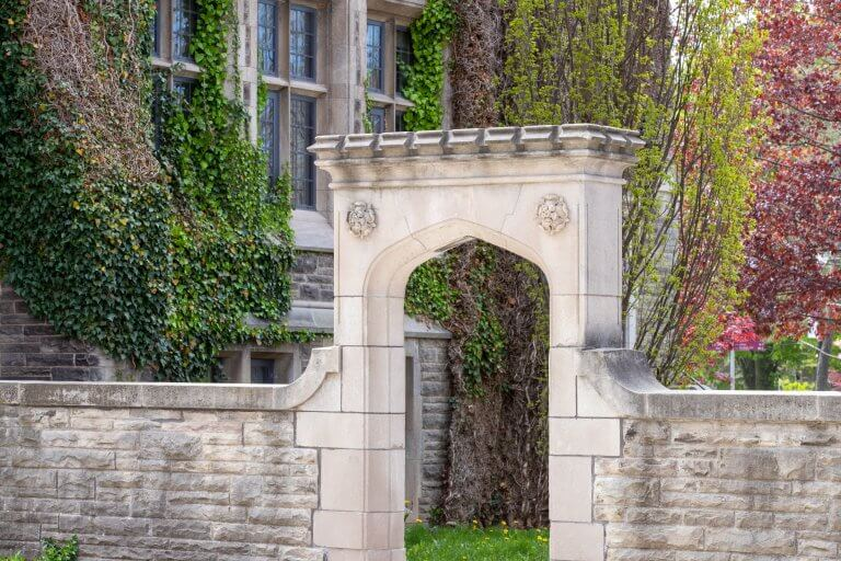 Edwards Arch located behind University Hall. Spring 2020