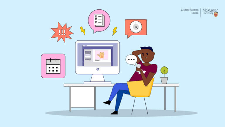 Illustration of student sitting at a desk procrastinating on their smart phone. Thought bubbles symbolizing tasks surround the computer on the desk.