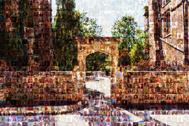A mosaic of student photos that make up an image of Edwards Arch on McMaster campus.