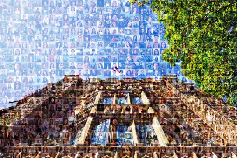 A mosaic of student photos that make up an image of University Hall on McMaster campus.