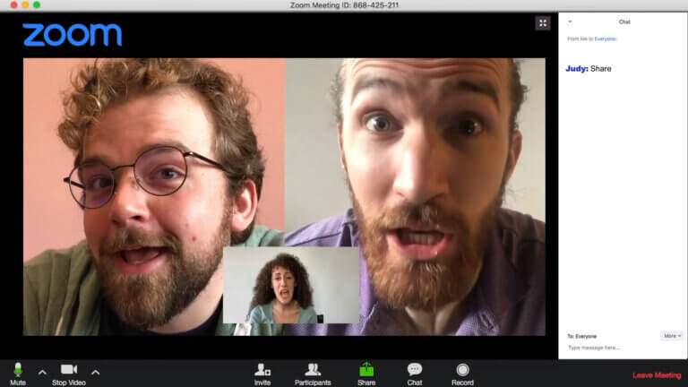 Screenshot of Water Coolers comedy show. Three people in separate Zoom meeting windows talking at the same time.