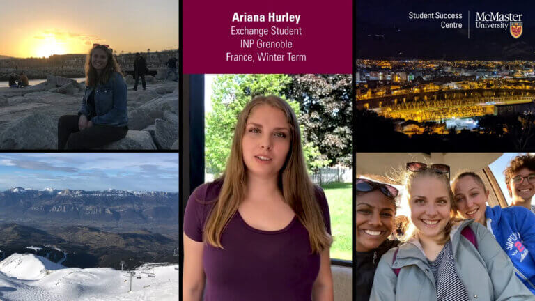 Ariana Hurley, exchange student, with photos of France.