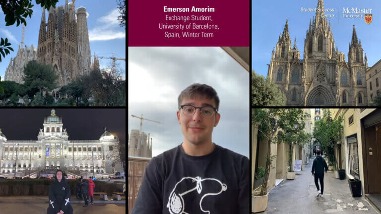 Emerson Amorim, exchange student, with photos of Spain.