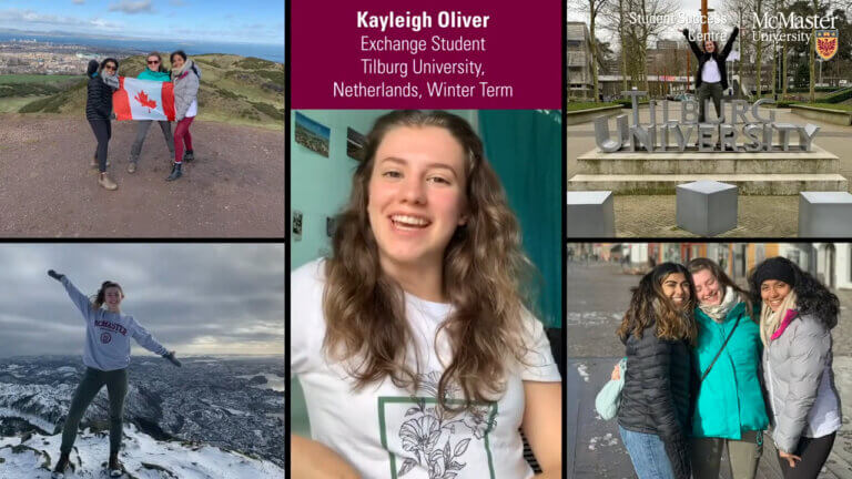 Kayleigh Oliver, exchange student, with photos of the Netherlands.