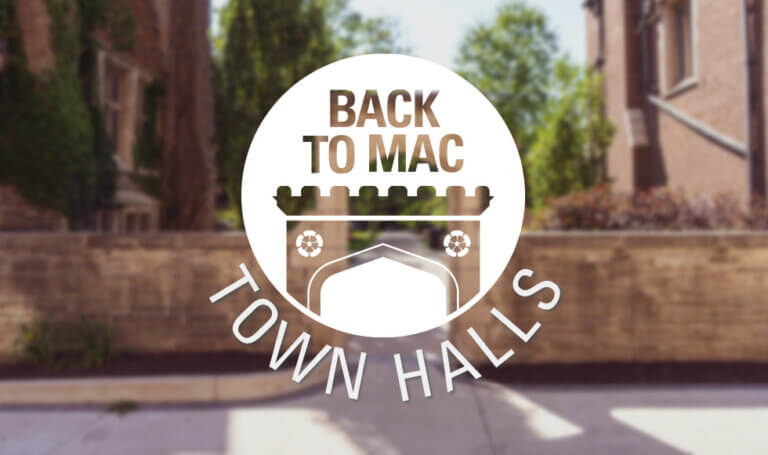 Blurred photo of Edwards Arch with superimposed graphic. Text reads: Back to Mac Town Halls.