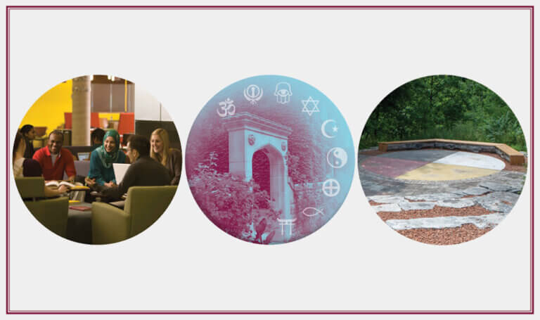 Collage of three images: group of students chatting. Edwards Arch with RSS symbols. McMaster outdoor classroom.